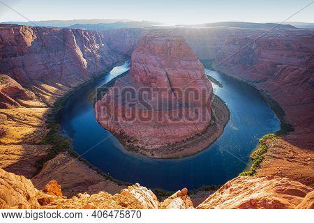 Grand Canyon, Glen Canyon, Arizona. Sunset Moment At Horseshoe Bend Grand Canyon National Park