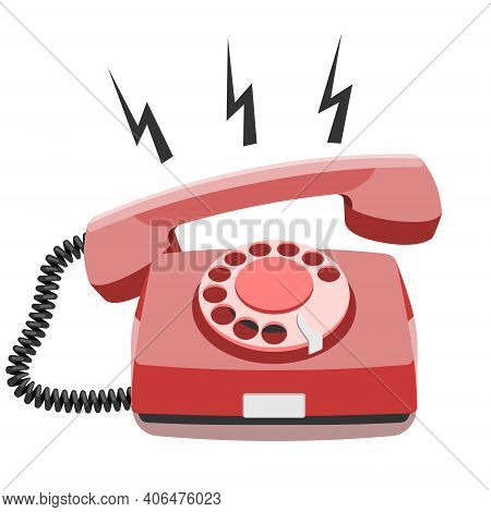 Phone Call, Old Rotary Telephone, Vintage Wired Phone Handset, Retro Phone. Vector Illustration On W