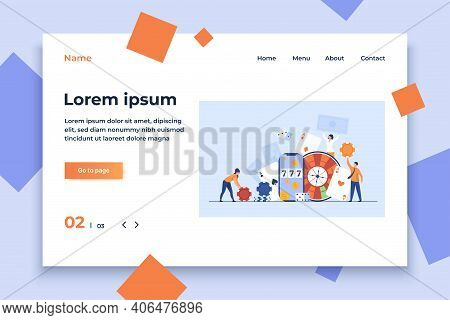 Happy Tiny People Gambling In Online Casino Isolated Flat Vector Illustration. Cartoon Characters Pl