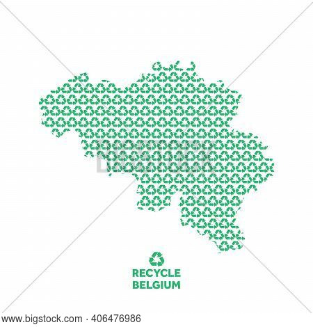 Belgium Map Made From Recycling Symbol. Environmental Concept