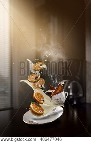 Pancakes With Strawberry And Jam On Plate On Boke Kitchen Background. Flying Pancakes On The Table