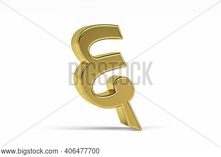 """Golden Indian Numeral - Three Dimensional Indian Numeral On White Background - Translation: Digit """"6"""