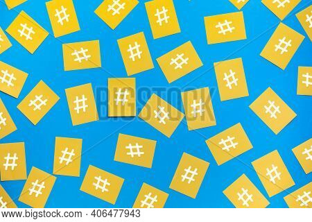 Social Media And Creativity Concepts With Hashtag Sign On Notepaper.digital Marketing Images.power O
