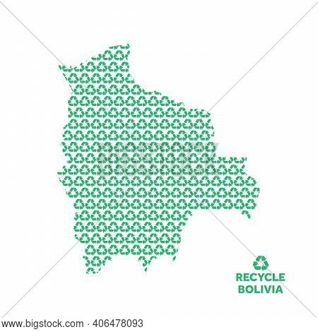 Bolivia Map Made From Recycling Symbol. Environmental Concept