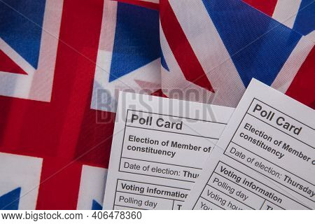 Polling Vote Card For The Uk General Election On A Union Jack Flag