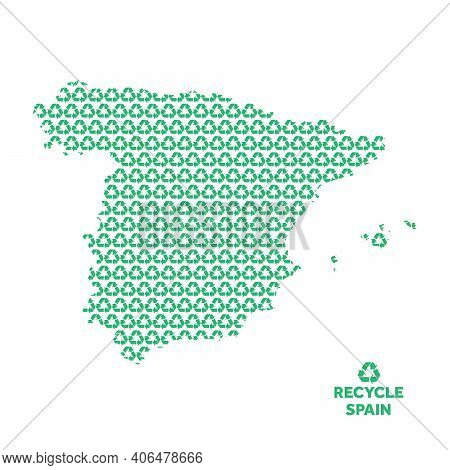 Spain Map Made From Recycling Symbol. Environmental Concept