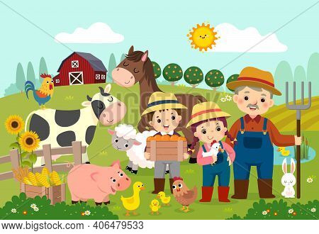 Vector Illustration Cartoon Of Happy Farmer And Kids With Farm Animals On The Farm.