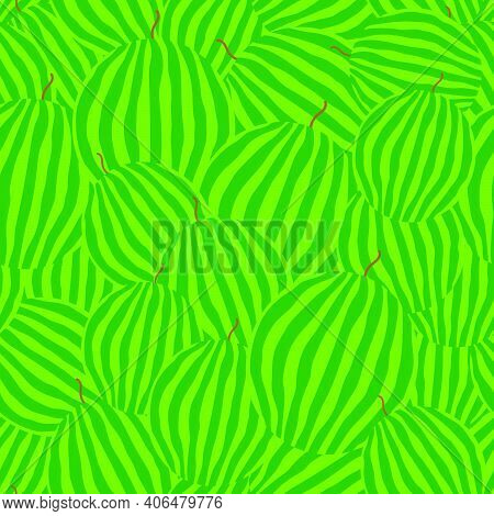 Whole Watermelons Seamless Pattern. Striped Light And Dark Green Rind. Vector Illustration.