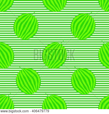 Watermelons Striped Seamless Pattern. Striped Rind On The Striped Background. Vector Illustration.