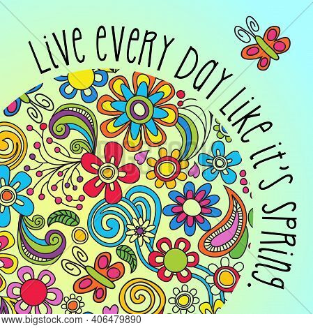 Boho Floral Poster, Card Or Social Media Image With Inspiring Quote About Spring. Vector Illustratio