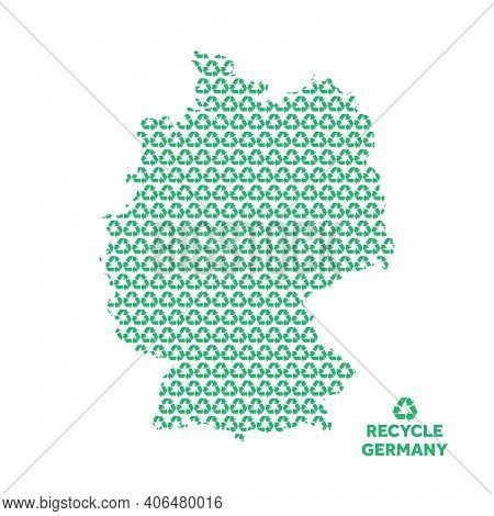 Germany Map Made From Recycling Symbol. Environmental Concept