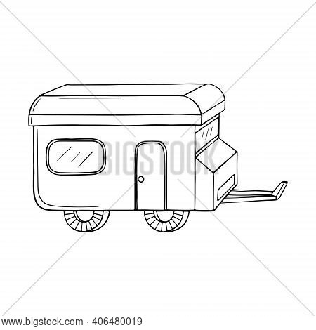 Vector Illustration Of Isolated Hand Drawn, Doodle Camper, Car Recreation Transport, Vehicles Camper