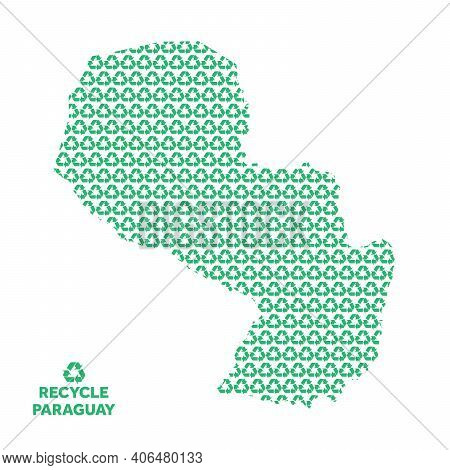 Paraguay Map Made From Recycling Symbol. Environmental Concept