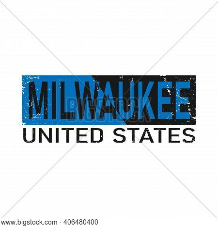 Milwaukee, Usa Calligraphic Lettering In Original Style. Us Cities Typographic Script Font For Print