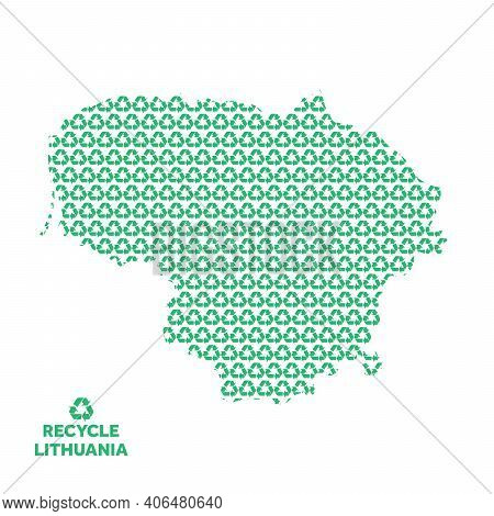 Lithuania Map Made From Recycling Symbol. Environmental Concept