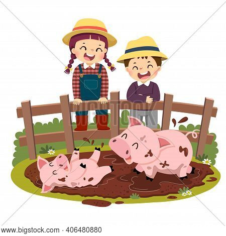Vector Illustration Cartoon Of Happy Kids Looking At Pig And Piglet Playing In Mud Puddle.