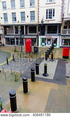 Chester; Uk: Jan 29, 2021: Anti Terror Bollards On Bridge Street Restrict Access To The Central Part
