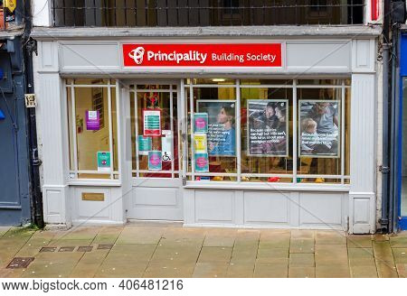 Chester; Uk: Jan 29, 2021: The Principality Building Society Office Remains Open During The Lockdown