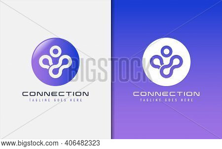 Connection Logo Design. Abstract People Inside The Circle. Usable For Business, Community, Tech, Spo