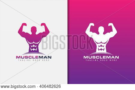 Muscle Man Logo. Gym Fitness Logo Design With People Showing His Muscles Pose. Sport Vector Logo Ill