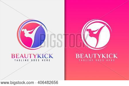 Beauty Kick Logo Design. The Girl In The Kicking Pose. Sport Logo Design Illustration. Graphic Desig