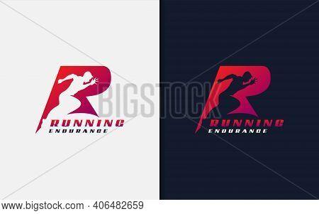 Running Endurance Logo Design. Abstract Initial R Logo With Running Man Silhouette. Sport Logo Vecto