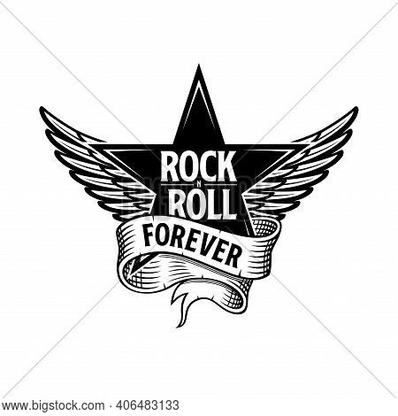 Rock And Roll Forever Star, Ribbon And Wings
