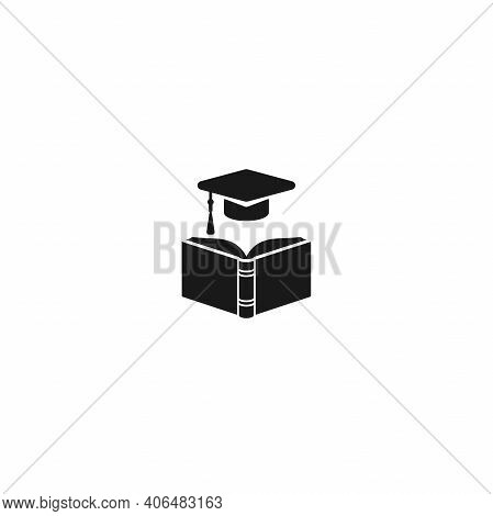 Black Open Book With Graduation Cap Or Mortar Board. Isolated On White Background. Flat Reading Icon