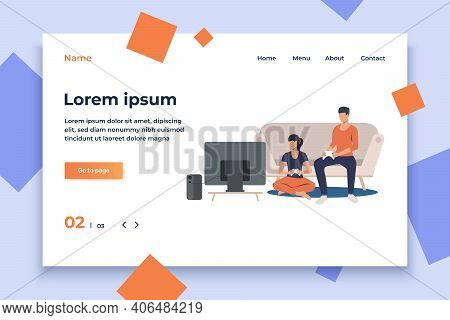 Friends Playing Game Console. Home, Game, Tv, Console. Happy Friends Concept. Vector Illustration Fo