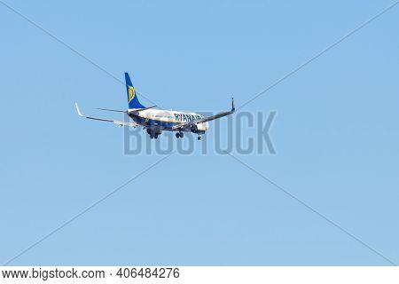 Portugal, Lisbon, October 09, 2018: Ryanair Boeing 737-800 Taking Off Against A Blue Sky.