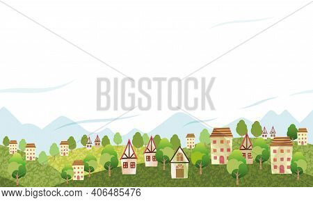 Seamless Hilly Landscape With An Idyllic Village And Text Space.  Vector Illustration. Horizontally