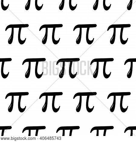 Black And White Simple Vector Seamless Pattern Background With Pi Letters For World Pi Day.
