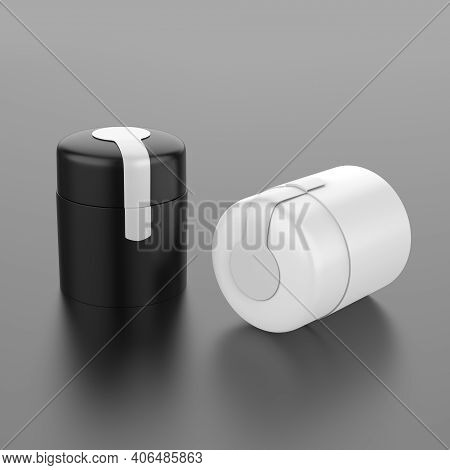Elegant Cosmetic Or Skin Care On Black Background. Cosmetic  Mock Up. Beautiful Cosmetic Template Fo