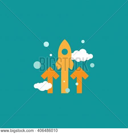 Three Red Arrows Up With Rocket And Clouds On Blue Background. Launch, Upgraid Icon. Creative Projec