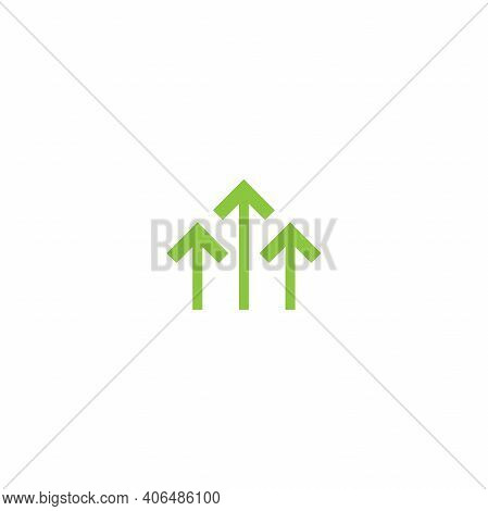 Three Green Arrows Up Icon. Isolated On White. Upload Icon. Upgrade Sign. Growth Symbol. North Point