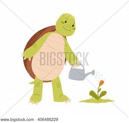 Cute And Funny Green Turtle Watering Flower. Happy Smiling Tortoise Standing On Back Paws. Funny Chi