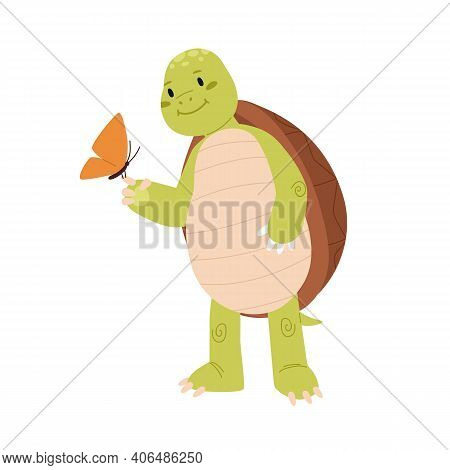 Cute And Funny Turtle Looking At Pretty Butterfly On Its Paw. Happy Green Tortoise Holding Moth. Chi