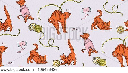 Home Pet Cat Funny Nursery Print. Craft Stitching, Embroidery Print. Little Kitten Playing With Yarn