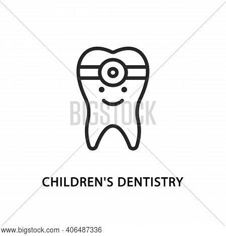 Childrens Dentistry Flat Line Icon. Vector Illustration Funny Tooth To Indicate Baby Dentistry In Th