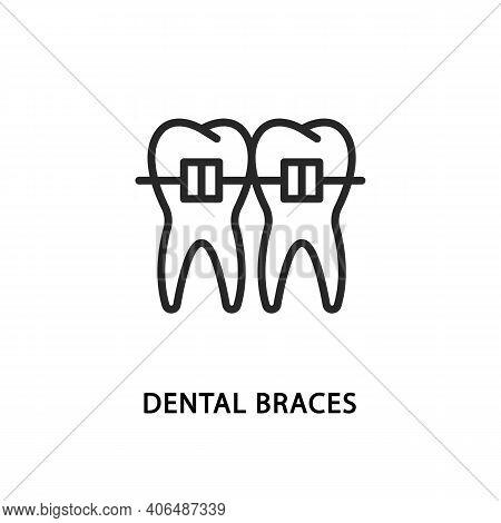 Dental Braces Flat Line Icon. Vector Illustration Symbol Orthodontics And Teeth Alignment