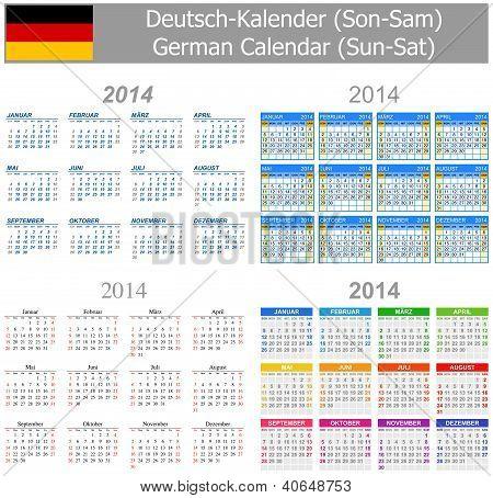 2014 German Mix Calendar Sun-sat