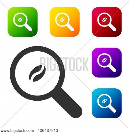 Black Selection Coffee Beans Icon Isolated On White Background. Set Icons In Color Square Buttons. V