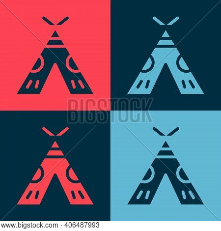 Pop Art Traditional Indian Teepee Or Wigwam Icon Isolated On Color Background. Indian Tent. Vector I