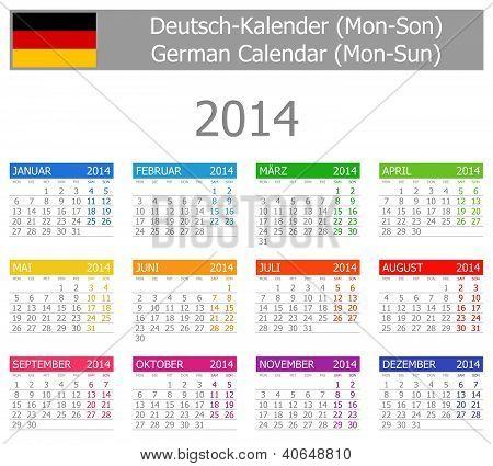 2014 German Type-1 Calendar Mon-sun