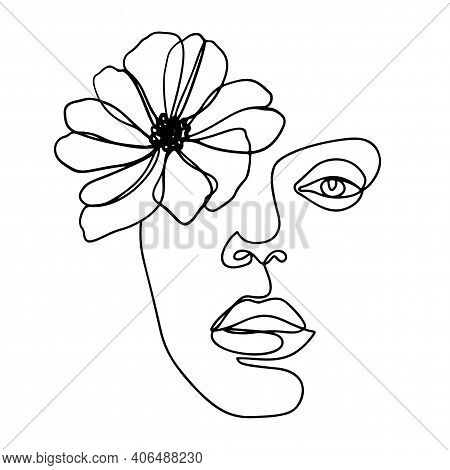 Continuous Line Drawing. Abstract Woman Portrait With Flower. One Line Face Art Vector Illustration.