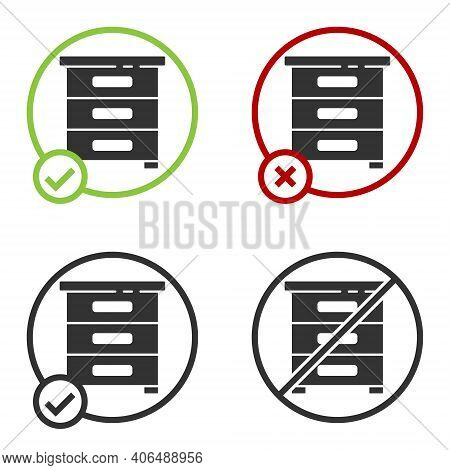Black Drawer With Documents Icon Isolated On White Background. Archive Papers Drawer. File Cabinet D