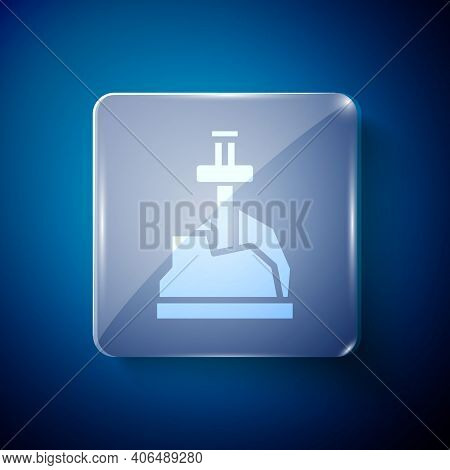 White Sword In The Stone Icon Isolated On Blue Background. Excalibur The Sword In The Stone From The
