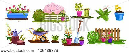 Spring Garden Nature, Plant Vector Collection, Flower Pots, Bushes, Fence, Green Seedling, Boots. Ba
