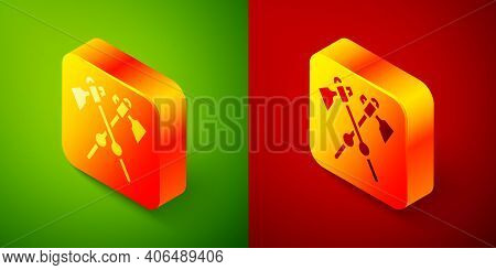 Isometric Crossed Medieval Axes Icon Isolated On Green And Red Background. Battle Axe, Executioner A