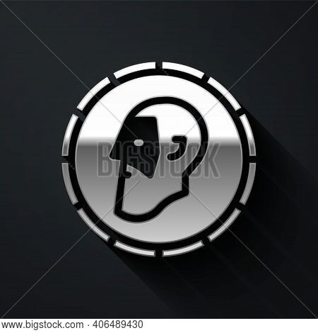 Silver Ancient Coin Icon Isolated On Black Background. Long Shadow Style. Vector